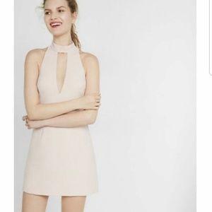 Express Blush Pink and Black Lace Dress
